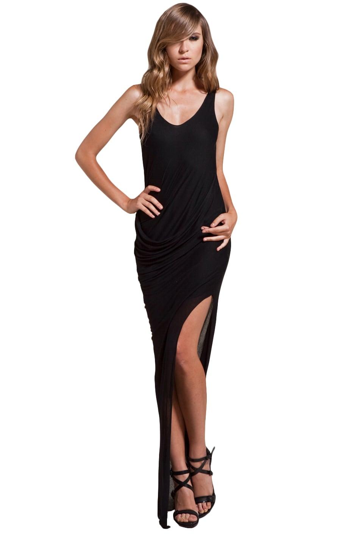 Image 1 of Helmut Lang Drape Maxi Dress in Black