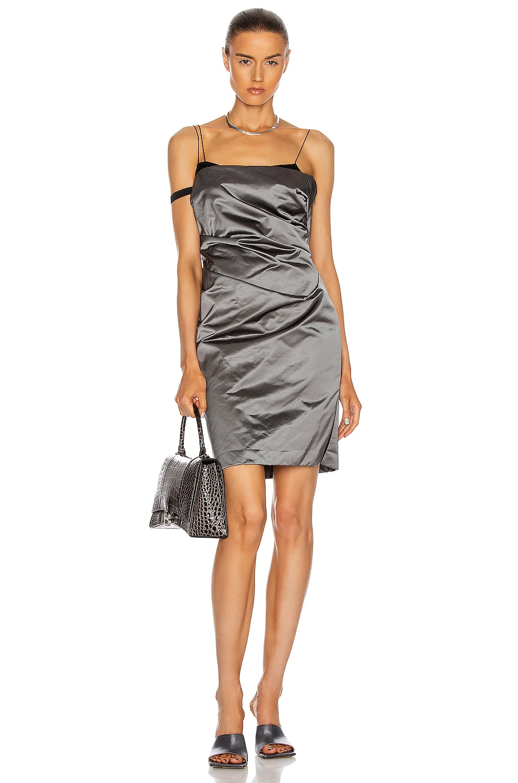 Image 1 of Helmut Lang Satin Mini Dress in Silver Mist