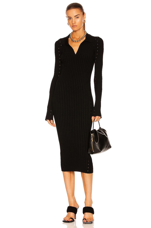 Image 1 of Helmut Lang Slash Midi Dress in Black
