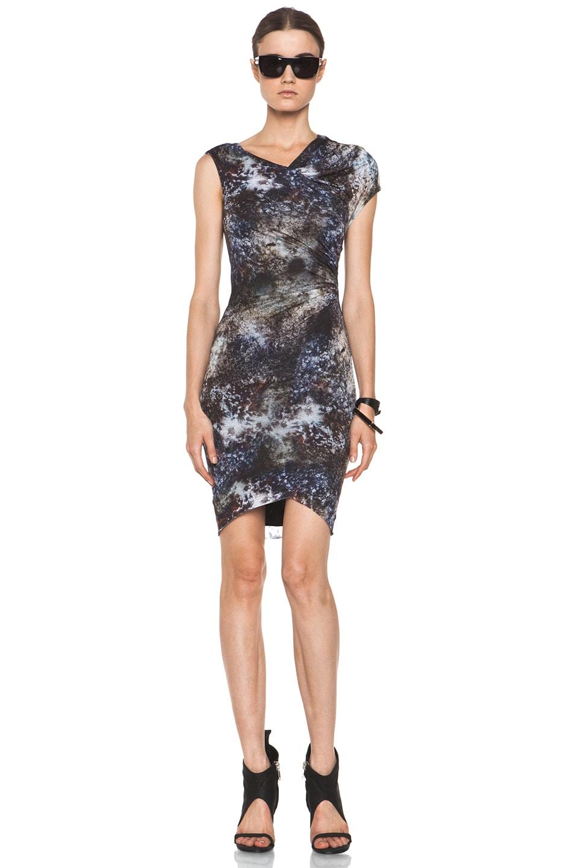 Image 1 of Helmut Lang Oxide Print Star Twist Dress in Bruise Multi