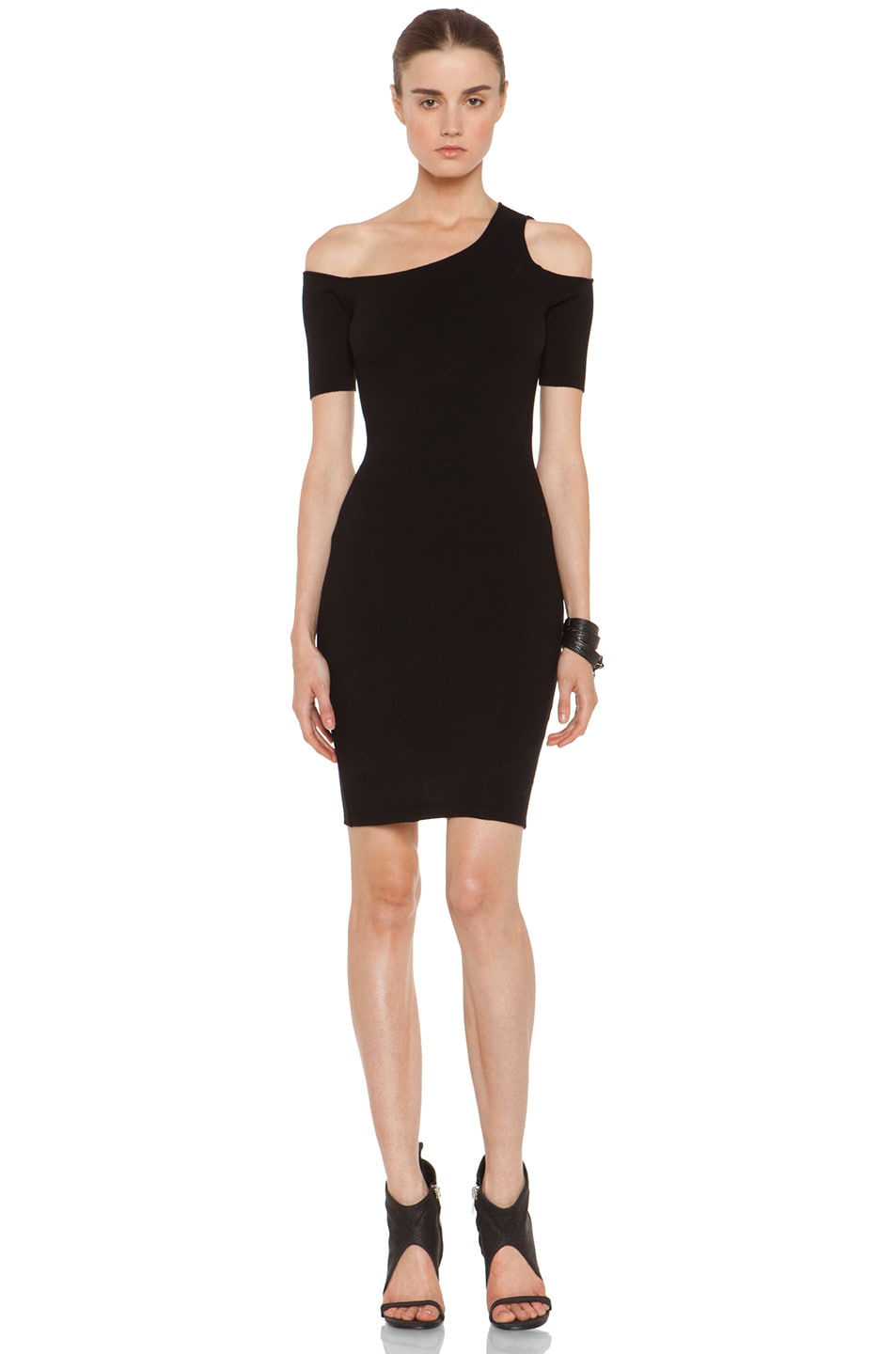 Image 1 of HELMUT Gala Knit One Shoulder Dress in Black