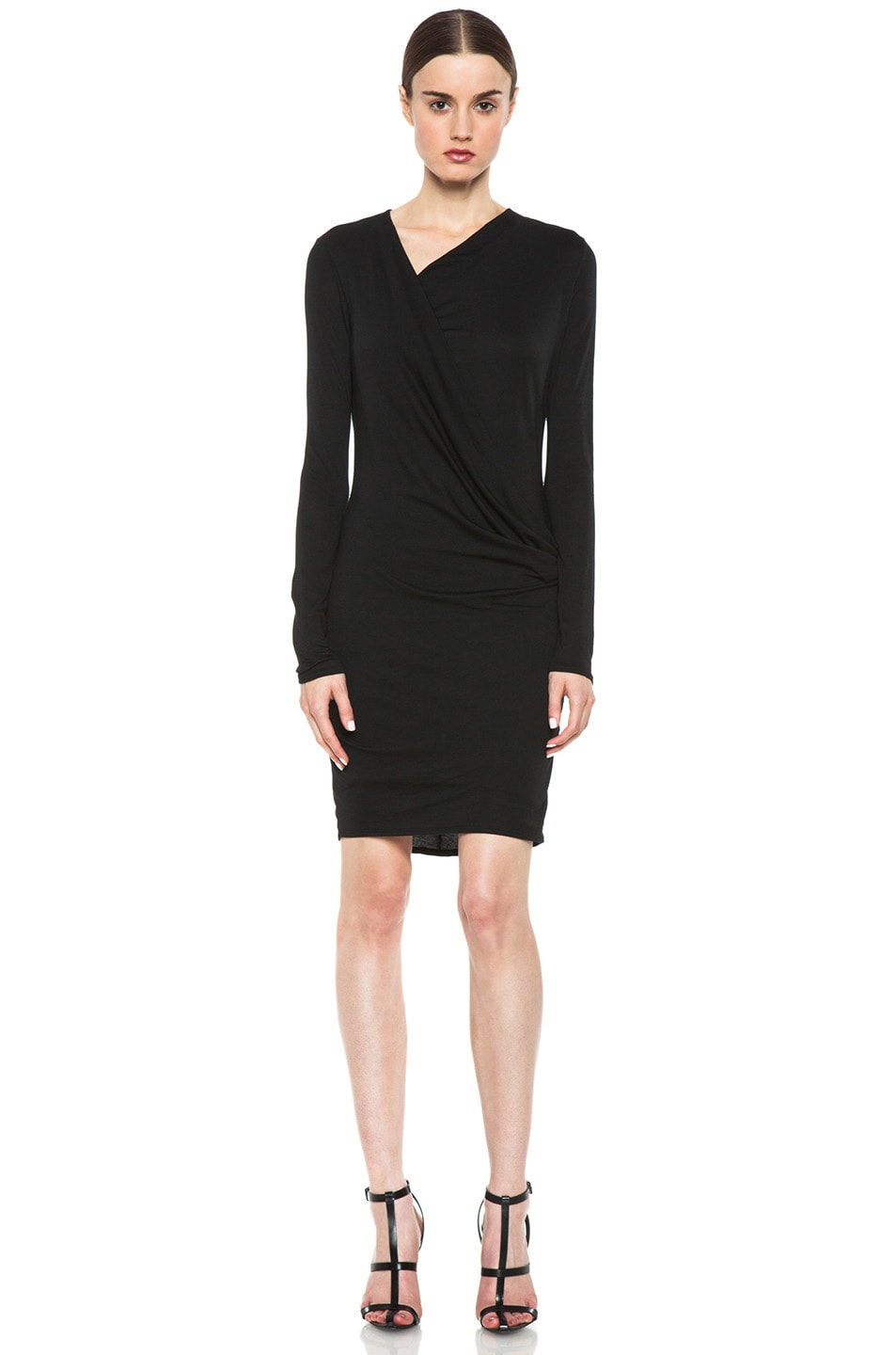Image 1 of HELMUT Helmut Lang Feather Jersey Long Sleeve Drape Dress in Black