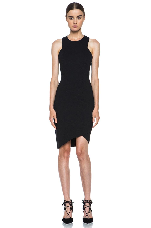 Image 1 of HELMUT Helmut Lang Form Knit Asymmetric Hem Dress in Black