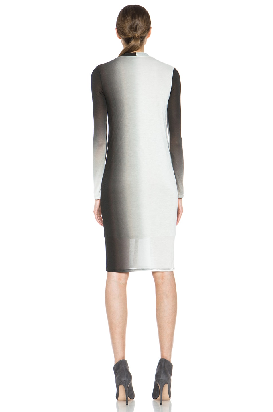Image 4 of Helmut Lang Shadow Ombre Jersey Deep V-Neck Dress in Black Multi