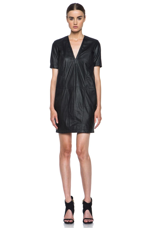 Image 1 of HELMUT Helmut Lang Washed Leather Shirt Dress in Black
