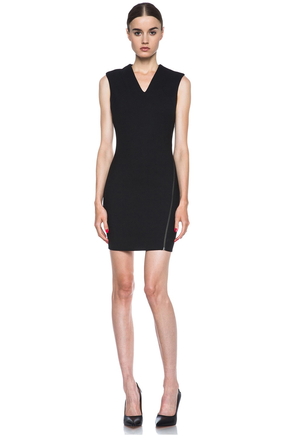 Image 1 of HELMUT Moto Stretch Angle Zipper Poly-Blend Dress in Black