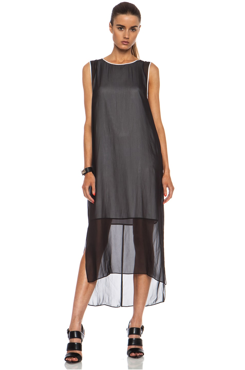 Image 1 of Helmut Lang Vanish Double Layer Poly Dress in Black