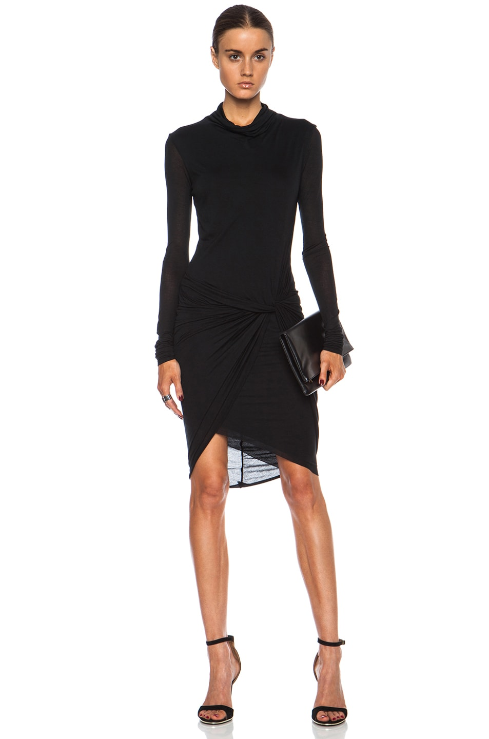 Image 1 of Helmut Lang Slack Jersey Twist Long Sleeve Dress in Black