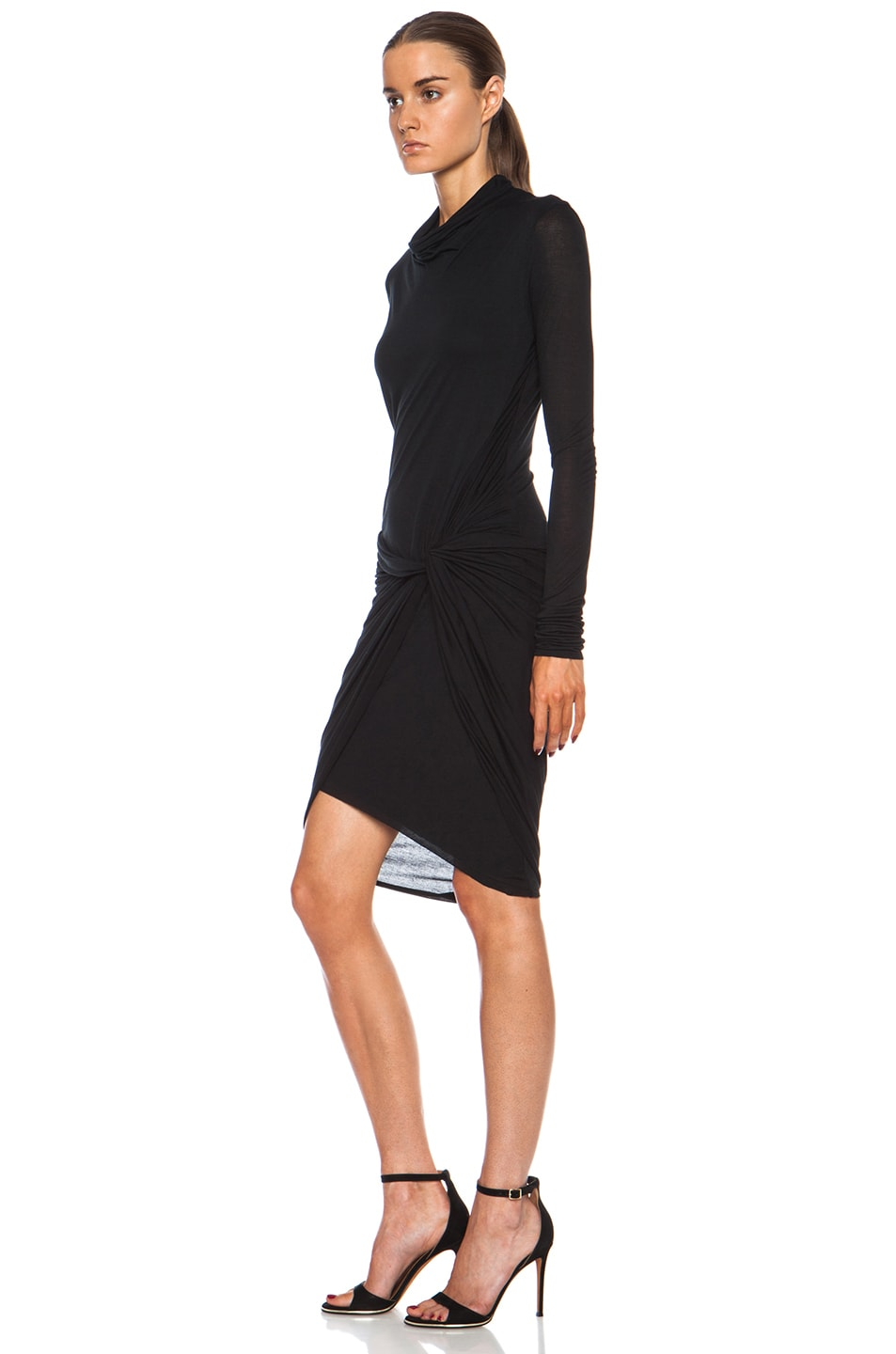 Image 2 of Helmut Lang Slack Jersey Twist Long Sleeve Dress in Black