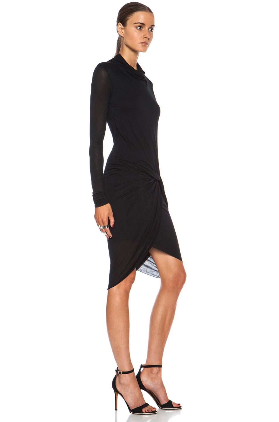 Image 3 of Helmut Lang Slack Jersey Twist Long Sleeve Dress in Black