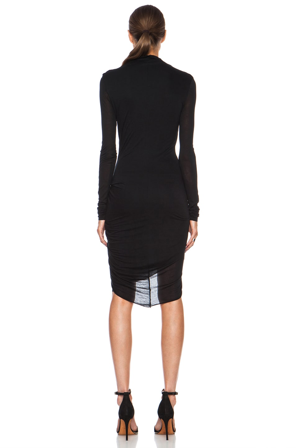 Image 4 of Helmut Lang Slack Jersey Twist Long Sleeve Dress in Black