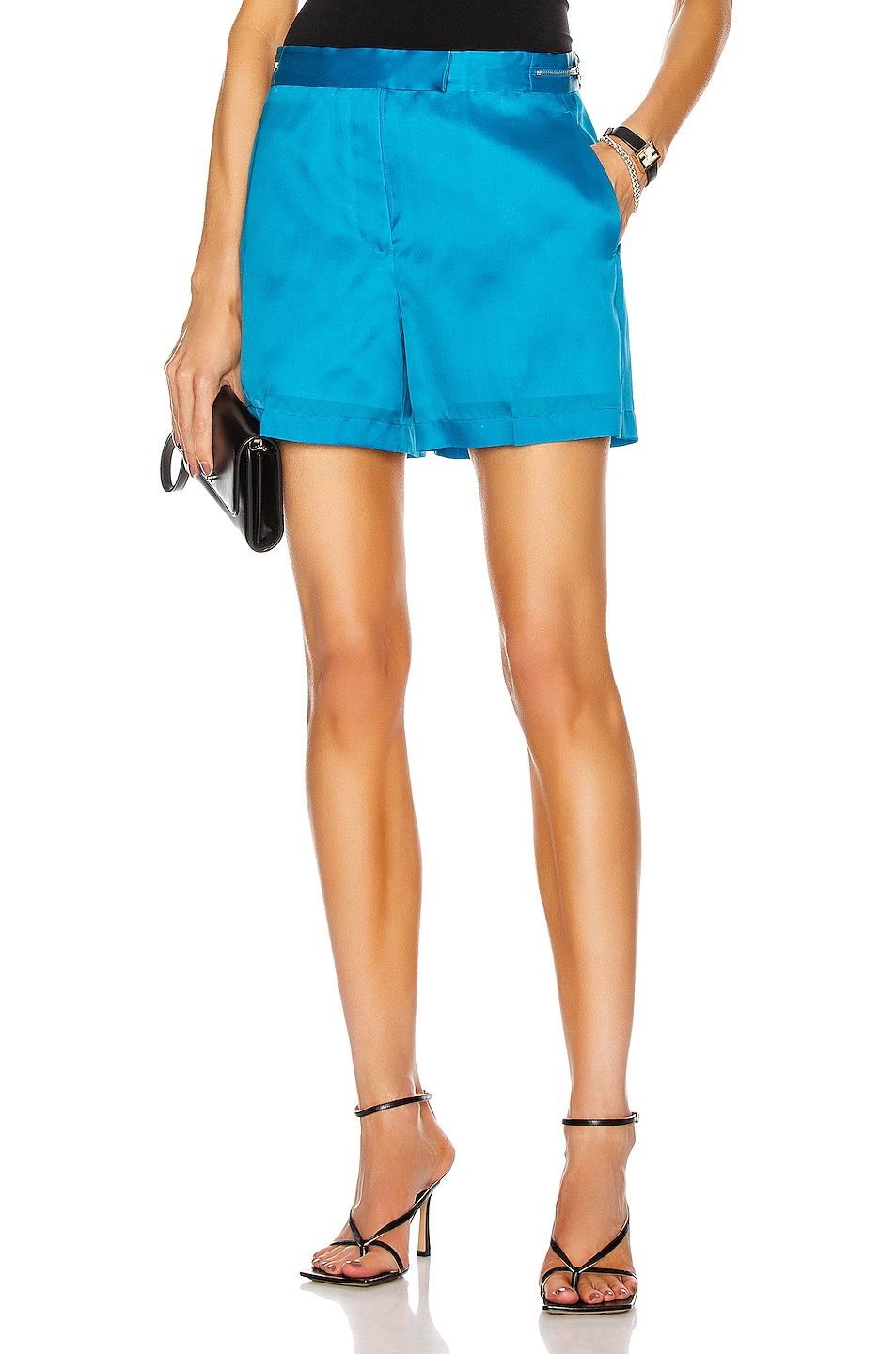 Image 1 of Helmut Lang Organza Shorts in Topaz