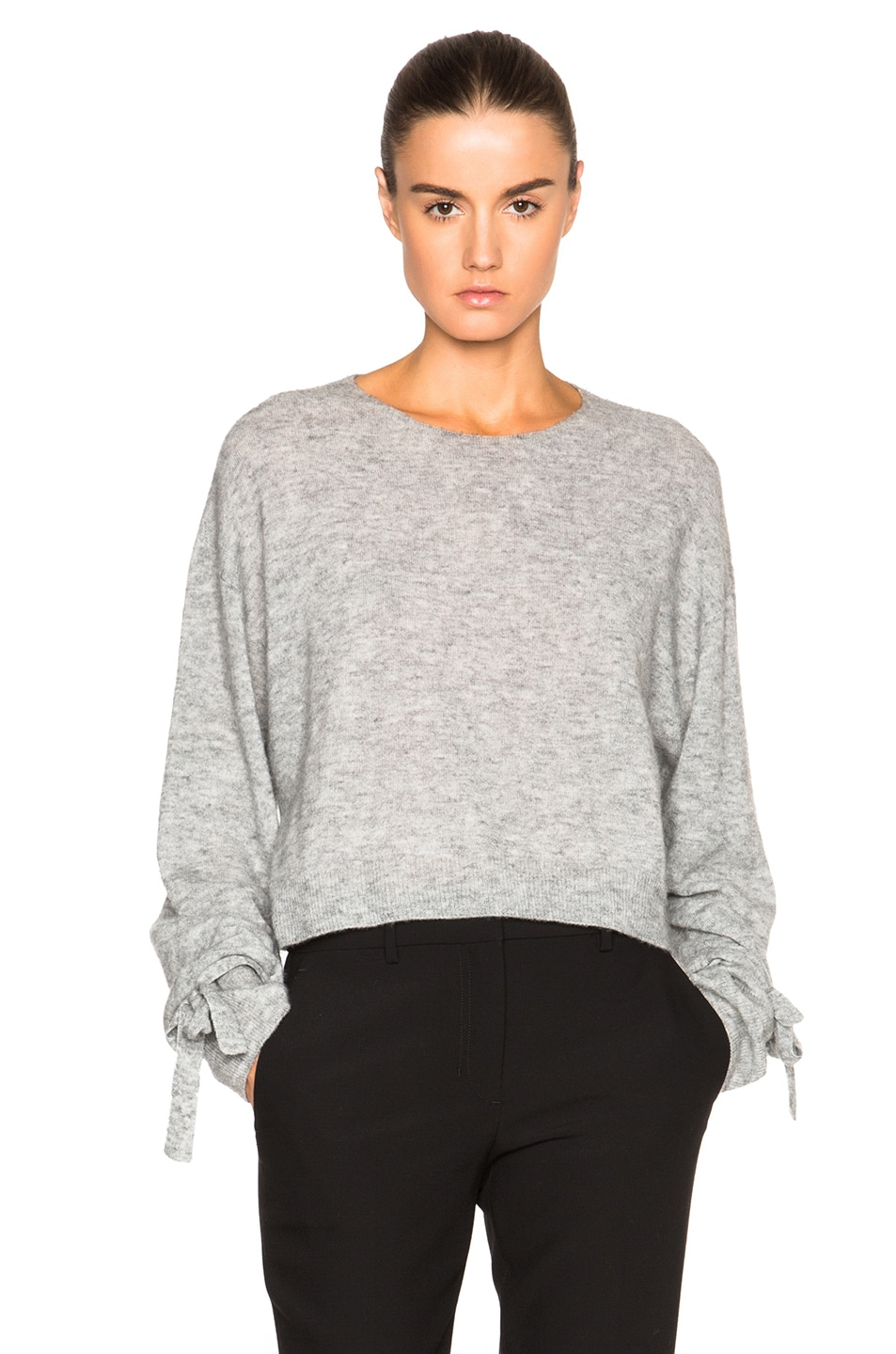 05bef31d Image 1 of Helmut Lang Cropped Sweater in Heather Grey
