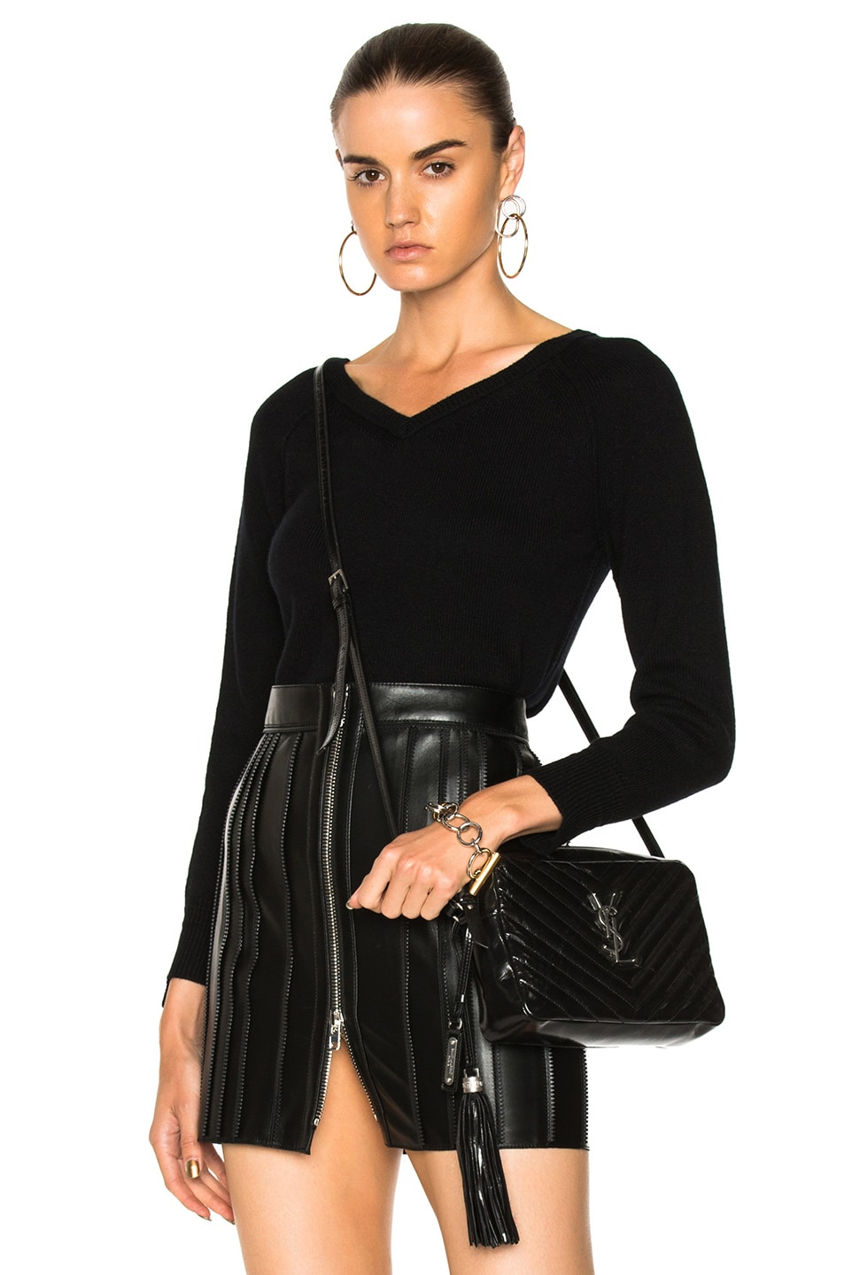 Image 1 of Helmut Lang Cashmere Double V Pullover Sweater in Black