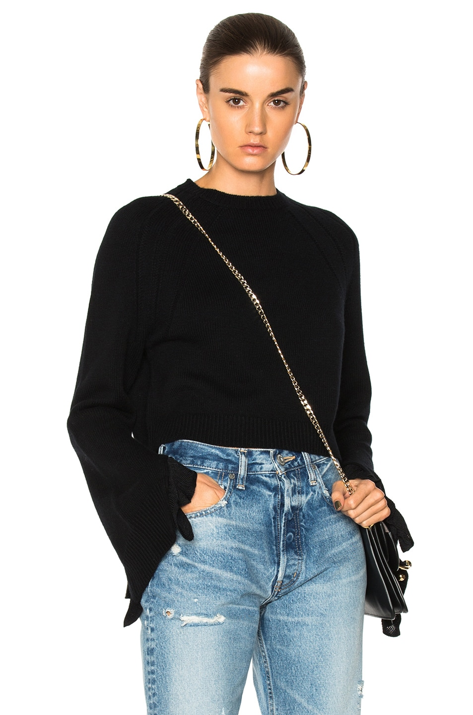 Image 1 of Helmut Lang Cropped Ruffle Pullover Sweater in Black