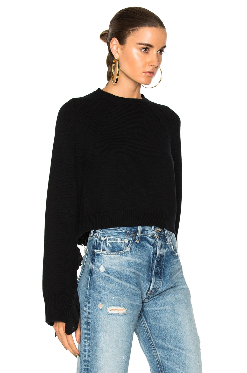 c637fbae Image 2 of Helmut Lang Cropped Ruffle Pullover Sweater in Black