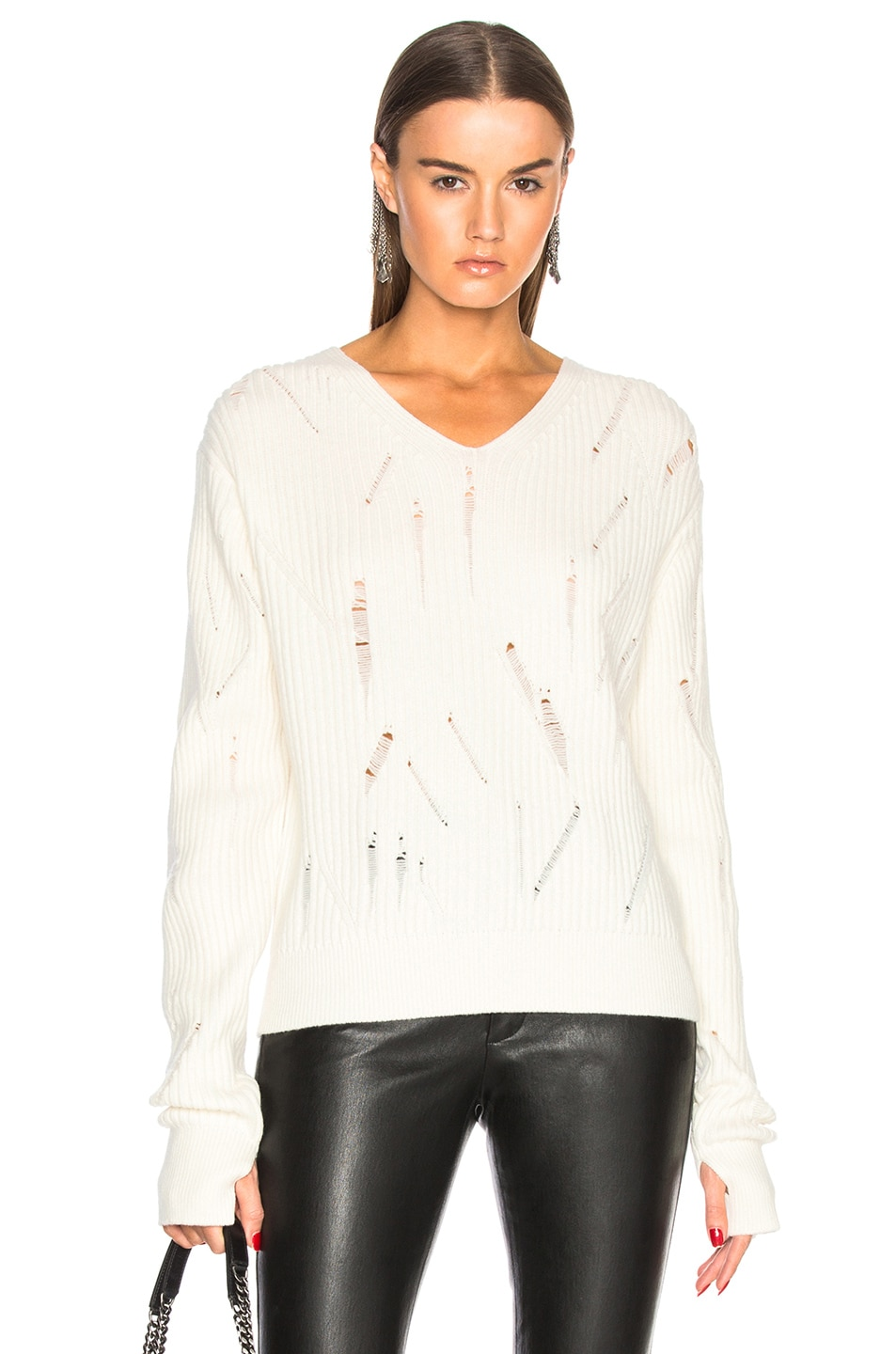 Image 1 of Helmut Lang Drop Needle V Neck Sweater in Ivory