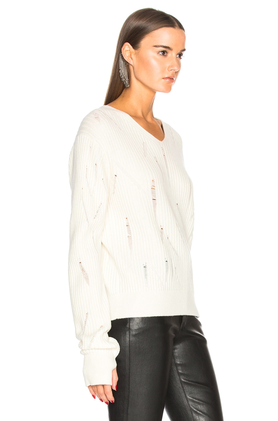 Image 2 of Helmut Lang Drop Needle V Neck Sweater in Ivory