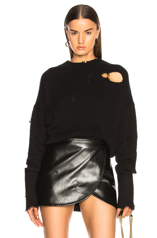 Image 1 of Helmut Lang Distressed Longsleeve Crew Sweater in Black