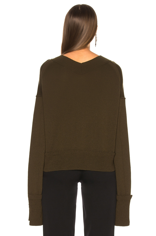 Image 3 of Helmut Lang Cashmere High V Neck Sweater in Dark Peat