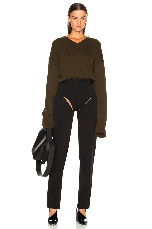 Image 4 of Helmut Lang Cashmere High V Neck Sweater in Dark Peat