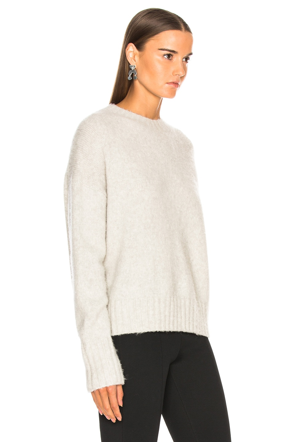 Image 2 of Helmut Lang Brushed Wool Crew Sweater in Ghost
