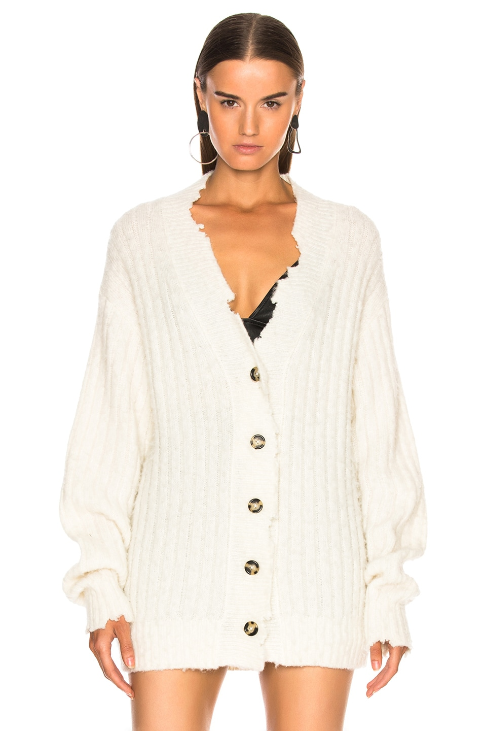 Image 2 of Helmut Lang Brushed Wool Cardigan in Ivory