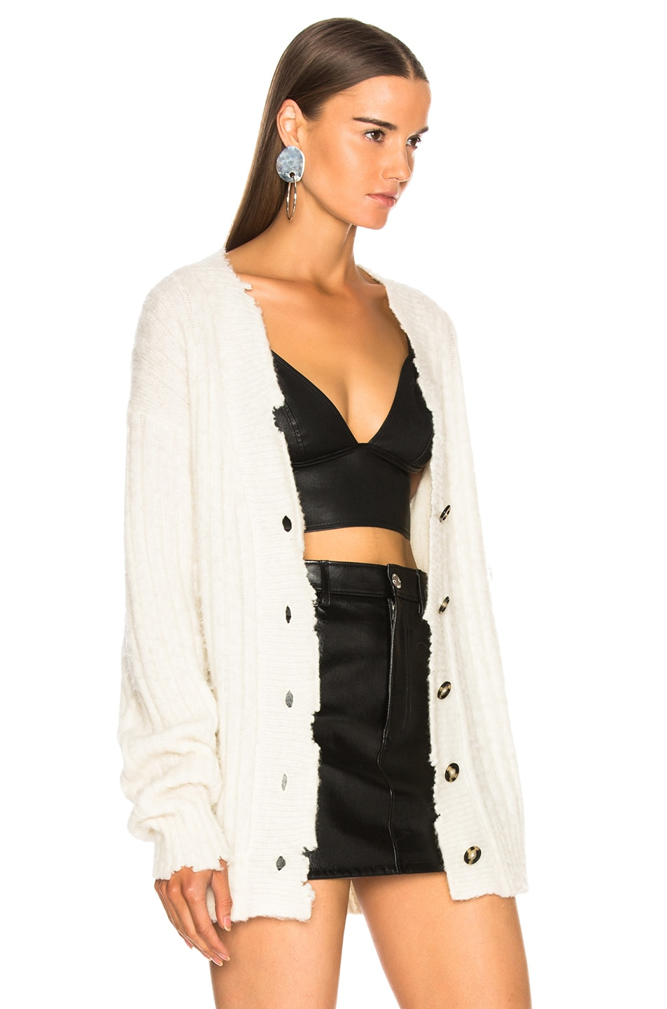 Image 3 of Helmut Lang Brushed Wool Cardigan in Ivory