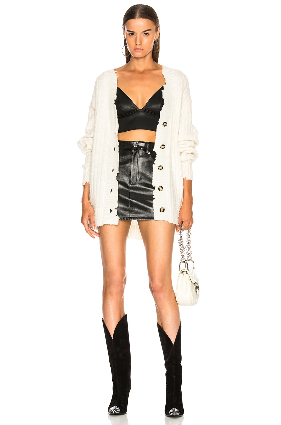 Image 5 of Helmut Lang Brushed Wool Cardigan in Ivory