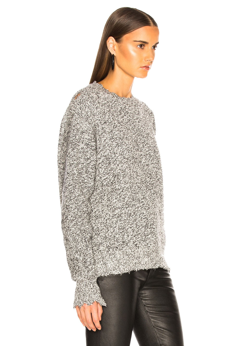 Image 3 of Helmut Lang Distressed Relaxed Long Sleeve Crew in Black White Marble