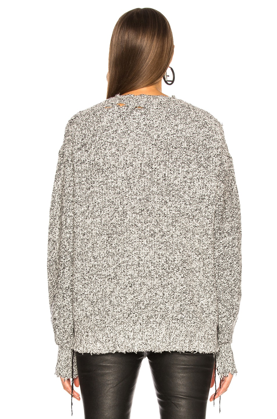 Image 4 of Helmut Lang Distressed Relaxed Long Sleeve Crew in Black White Marble