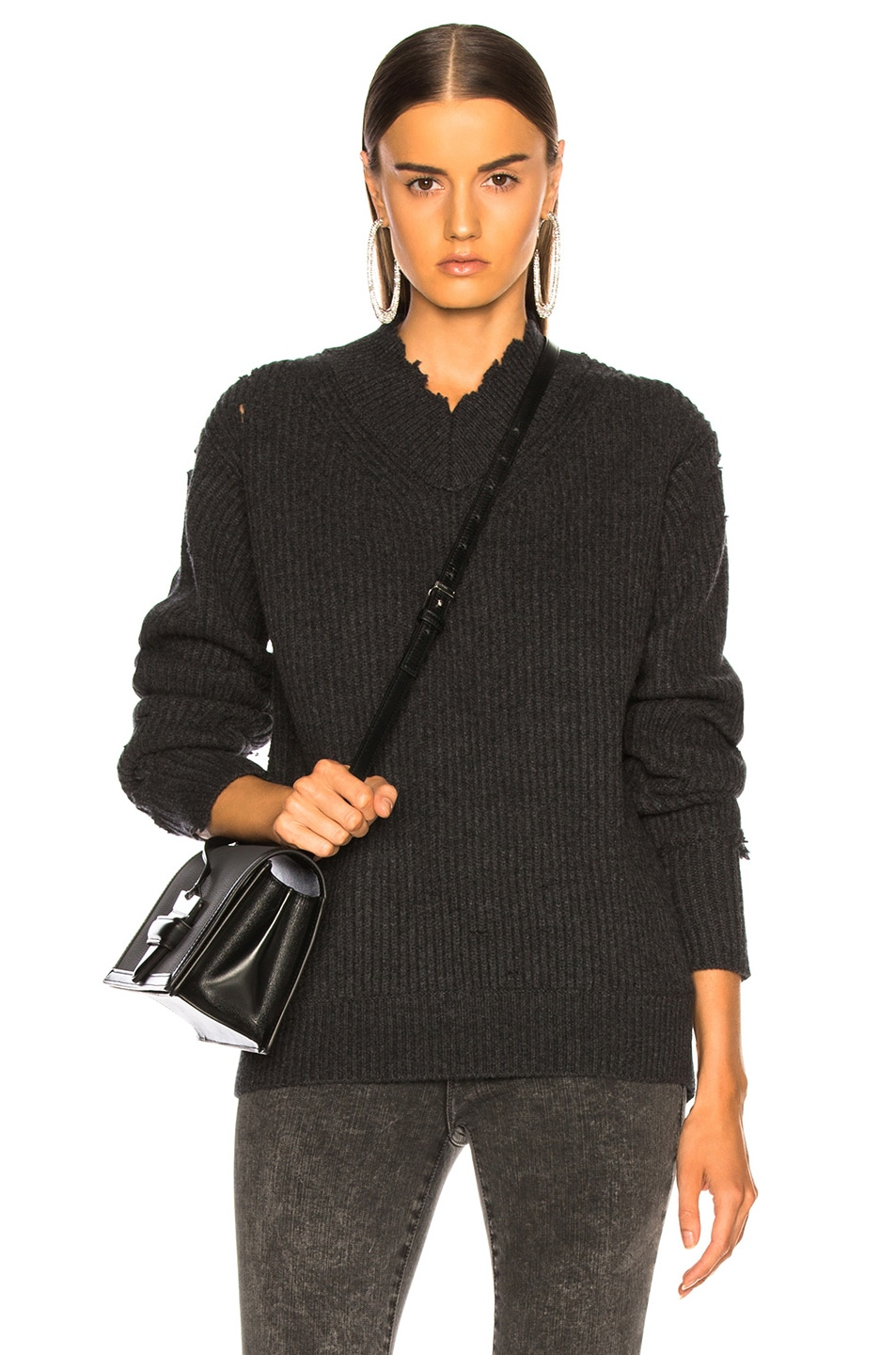 Image 1 of Helmut Lang Distressed Cashmere V Neck Sweater in Charcoal