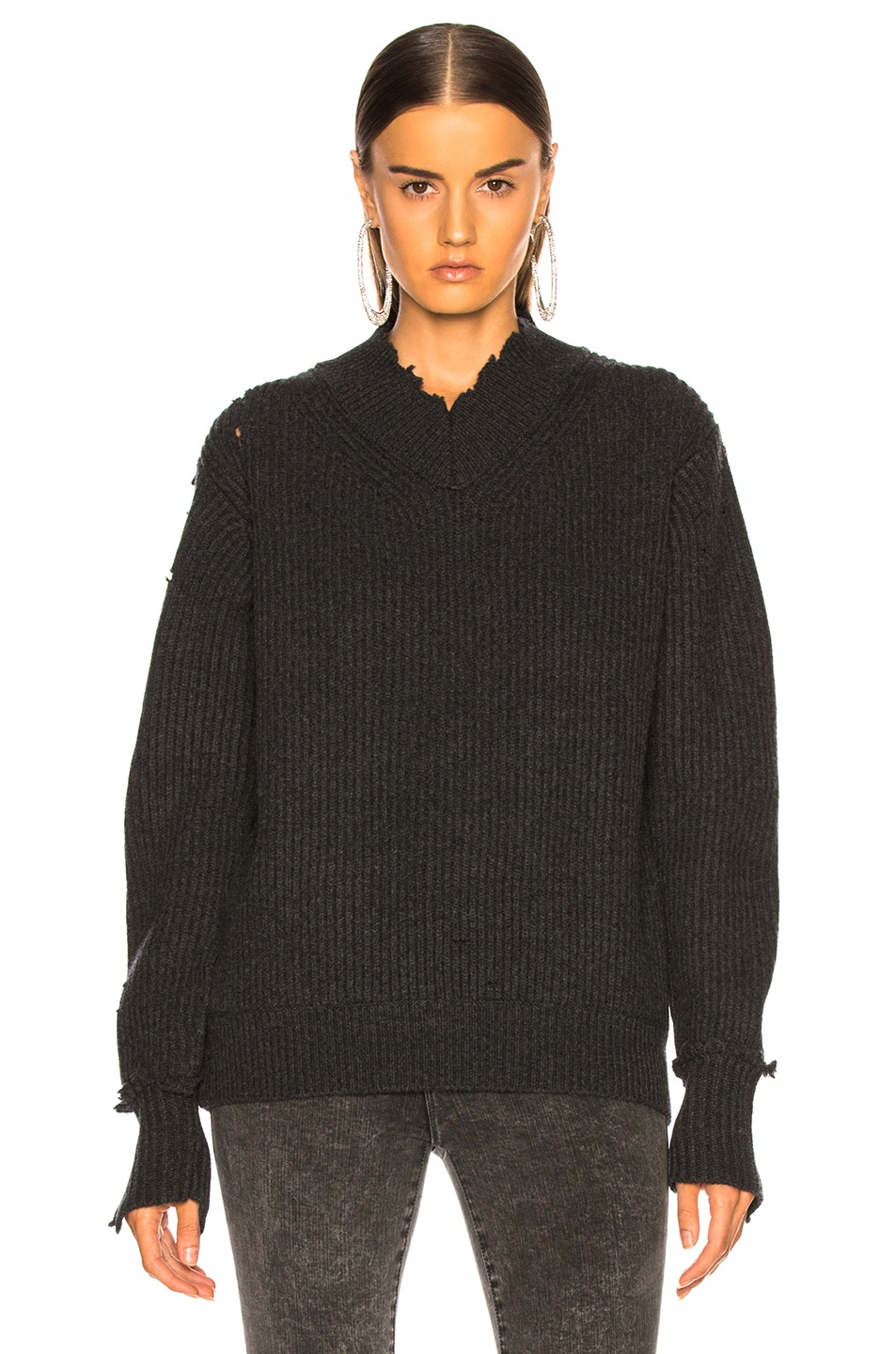 Image 2 of Helmut Lang Distressed Cashmere V Neck Sweater in Charcoal
