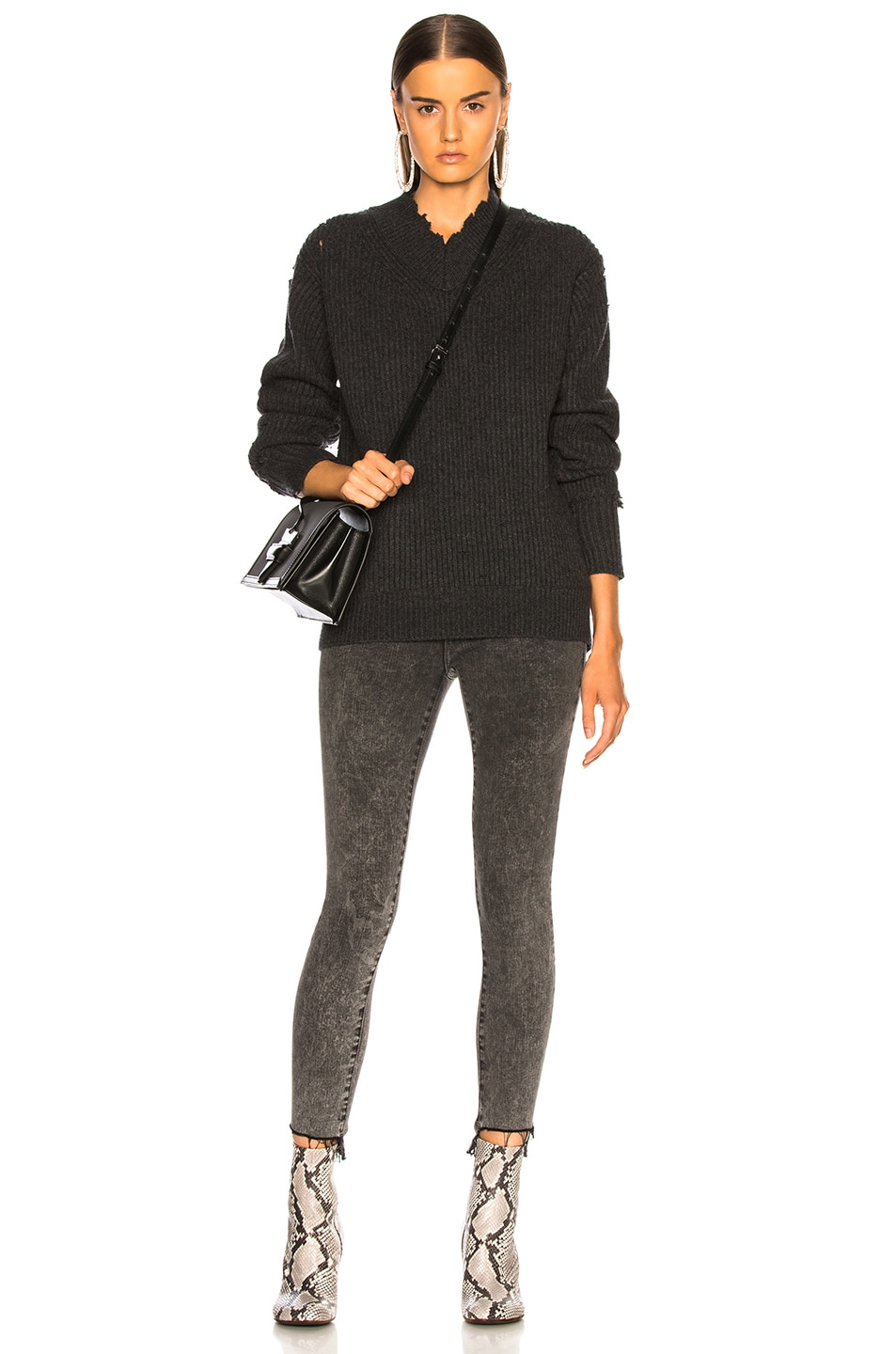Image 5 of Helmut Lang Distressed Cashmere V Neck Sweater in Charcoal