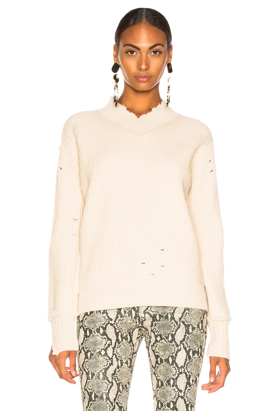 Image 2 of Helmut Lang Distressed Cashmere V Neck Sweater in Light Canvas