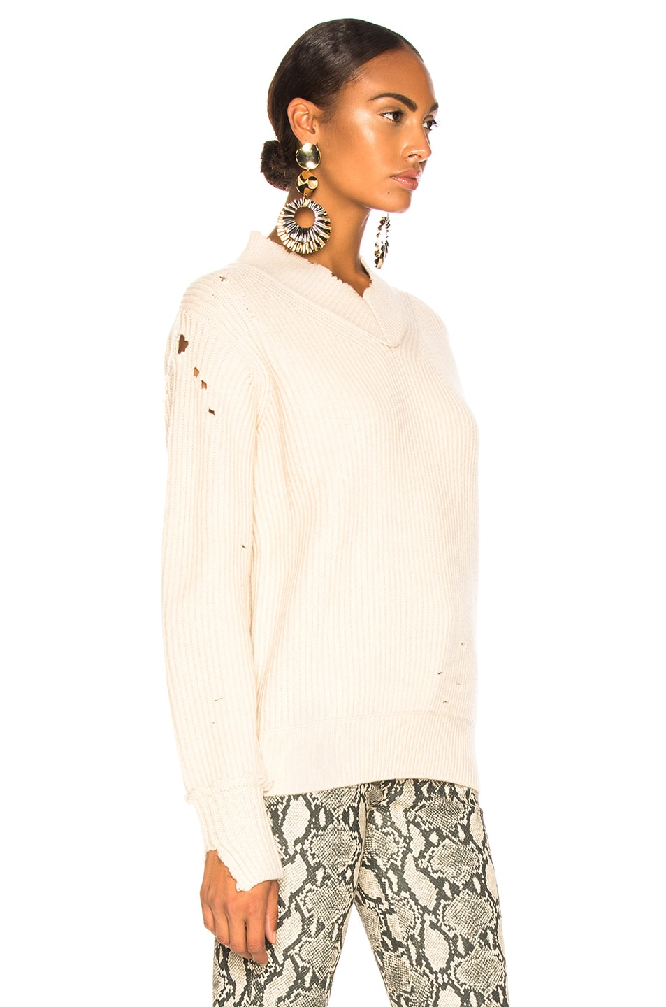 Image 3 of Helmut Lang Distressed Cashmere V Neck Sweater in Light Canvas