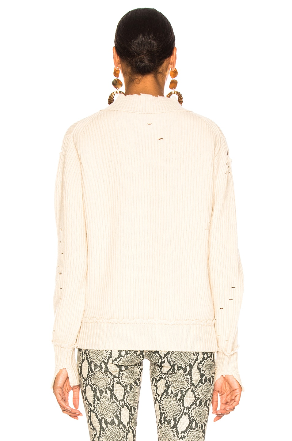 Image 4 of Helmut Lang Distressed Cashmere V Neck Sweater in Light Canvas