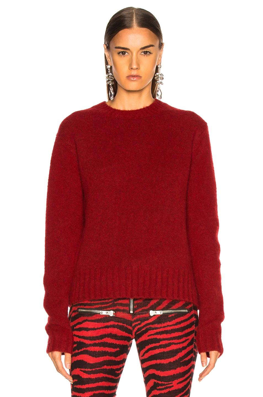 Image 2 of Helmut Lang Long Sleeve Brushed Crewneck Sweater in Scarlet
