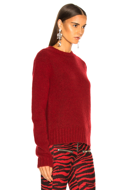 Image 3 of Helmut Lang Long Sleeve Brushed Crewneck Sweater in Scarlet