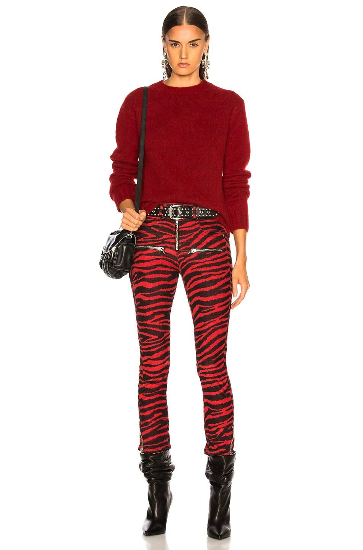 Image 5 of Helmut Lang Long Sleeve Brushed Crewneck Sweater in Scarlet
