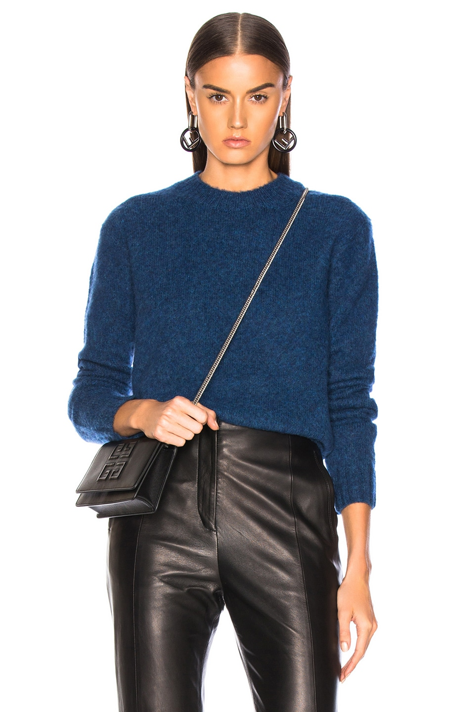 Image 1 of Helmut Lang Brushed Crew Neck Sweater in Lagoon