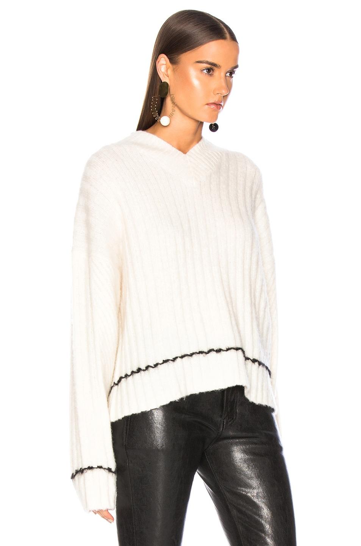 Image 2 of Helmut Lang Brushed V Neck Sweater in Angora