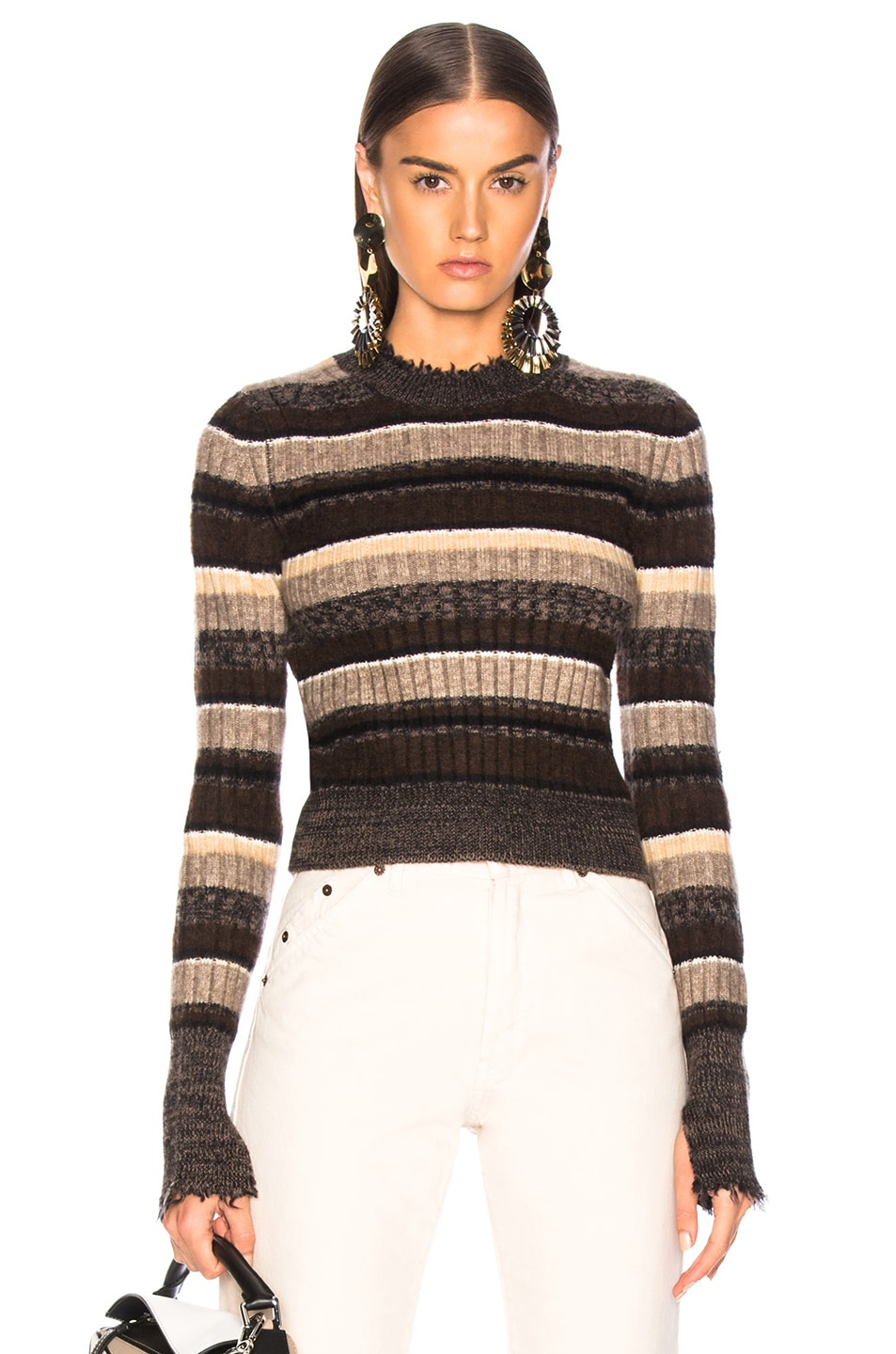 Image 1 of Helmut Lang Ombre Shrunken Crew Neck Sweater in Mocha Melange Stripe