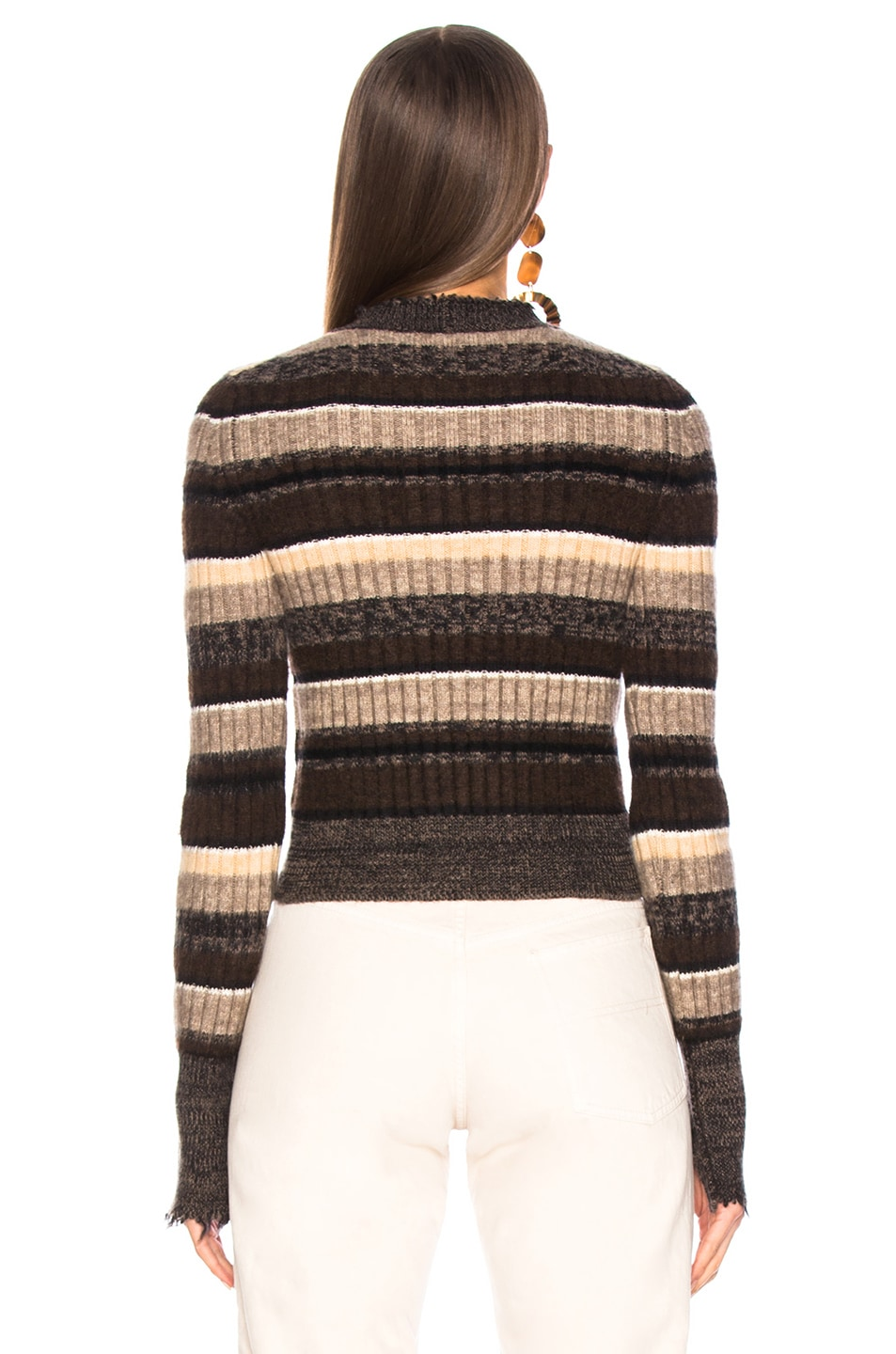 Image 3 of Helmut Lang Ombre Shrunken Crew Neck Sweater in Mocha Melange Stripe