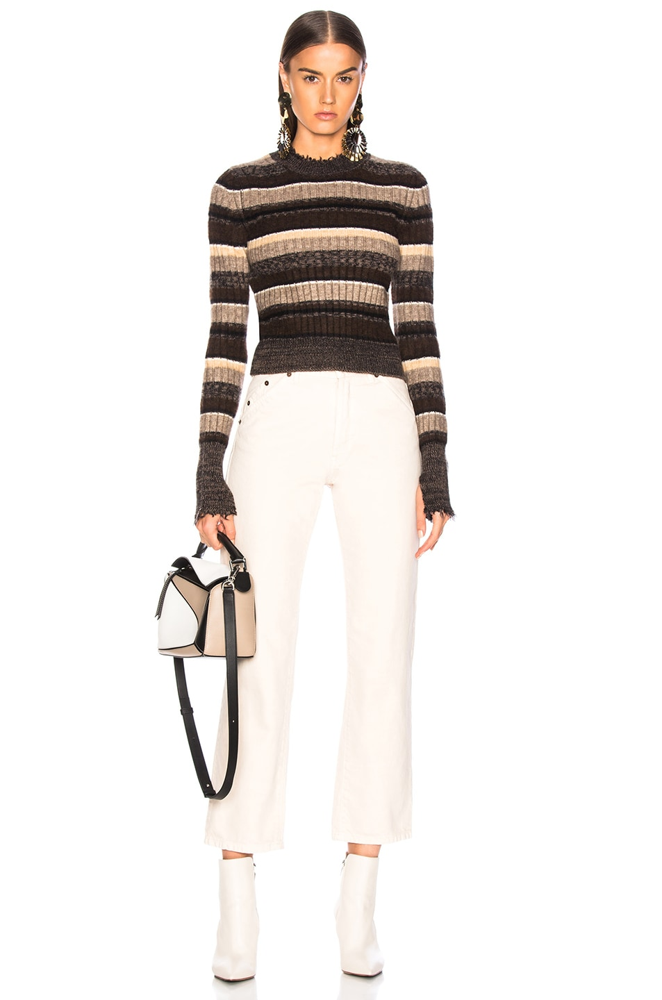 Image 4 of Helmut Lang Ombre Shrunken Crew Neck Sweater in Mocha Melange Stripe