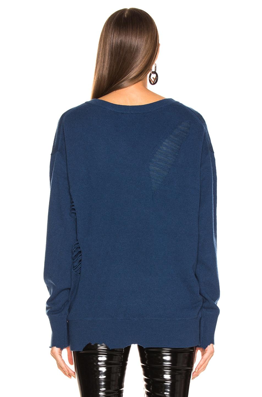 Image 3 of Helmut Lang Distressed Wide V Neck Sweater in Wave
