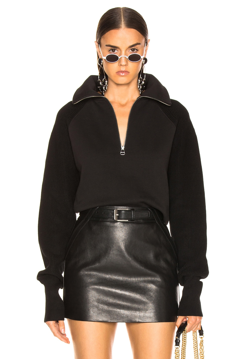 Image 1 of Helmut Lang Combo Zip Sweatshirt in Black