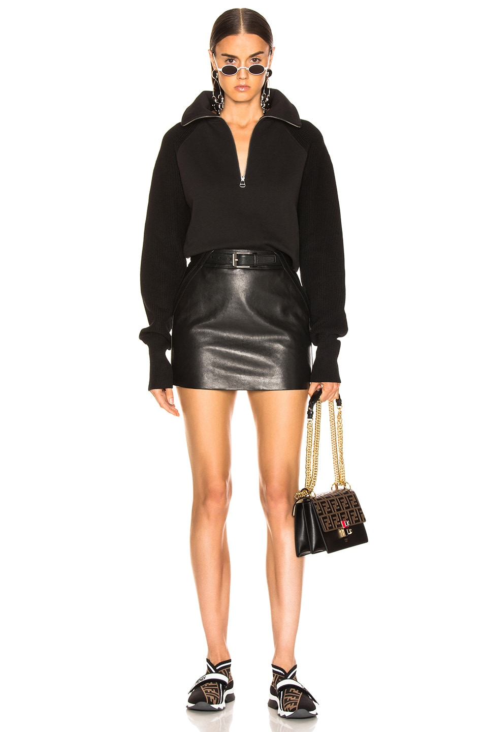 Image 4 of Helmut Lang Combo Zip Sweatshirt in Black