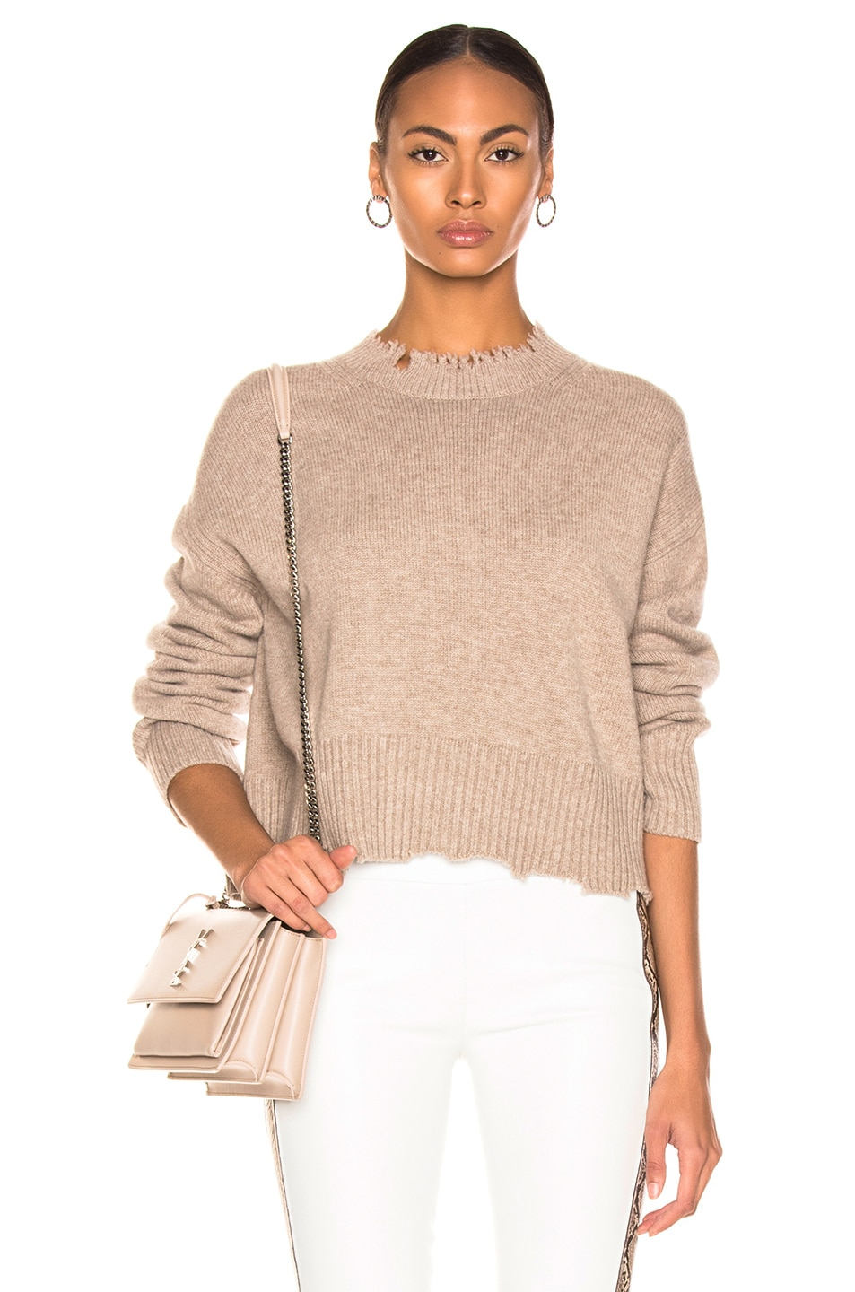 Image 1 of Helmut Lang Distressed Crew Sweater in Beige