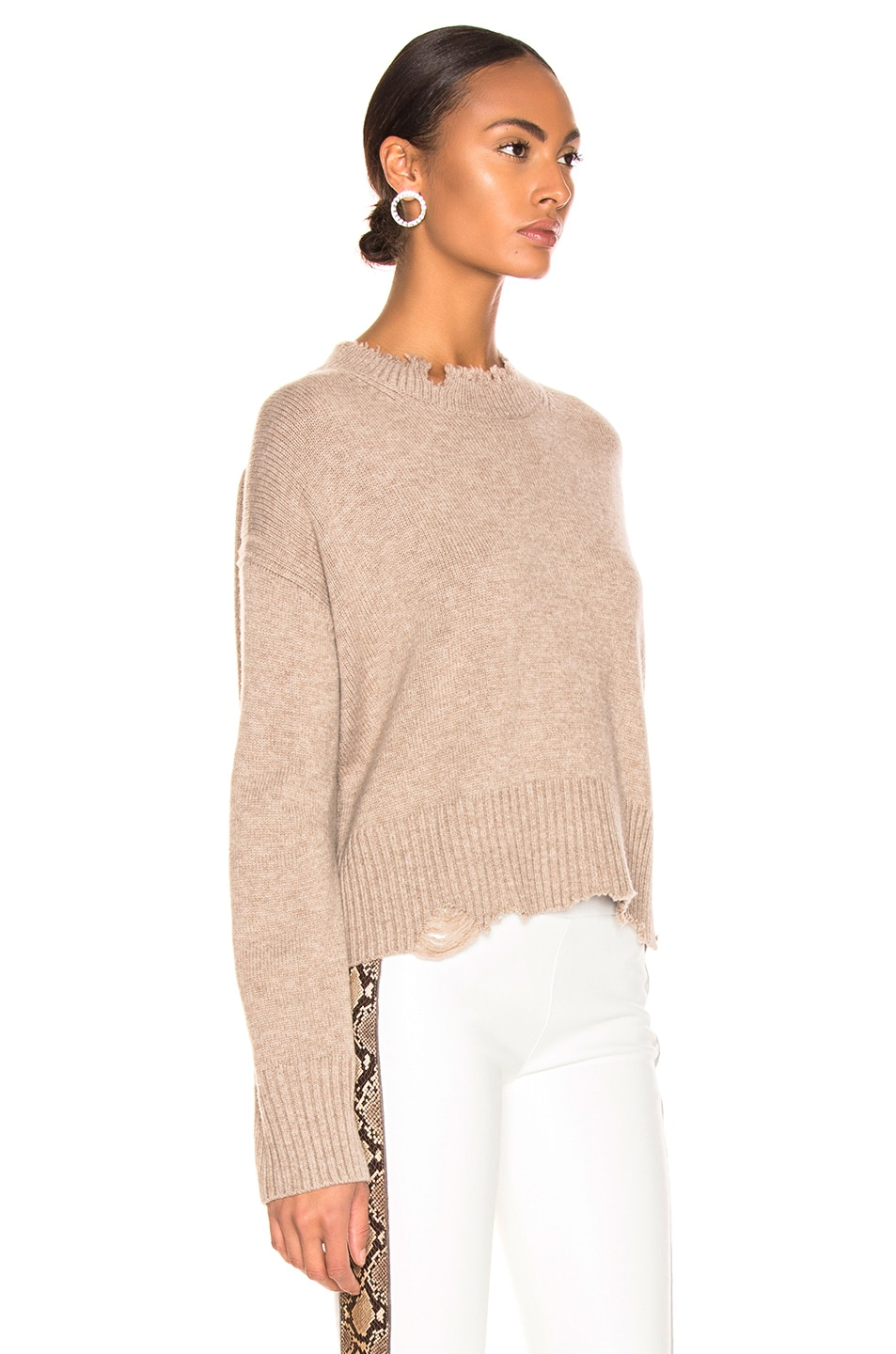 Image 2 of Helmut Lang Distressed Crew Sweater in Beige